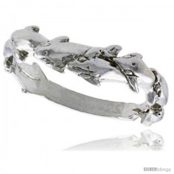Sterling Silver Dolphin Ring Polished finish 3/16 in wide