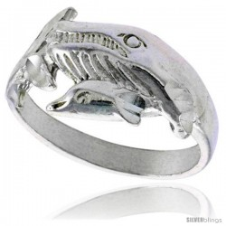 Sterling Silver Sperm Whale Polished finish 7/16 in wide