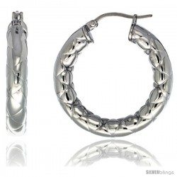 Surgical Steel 1 1/4 in Hoop Earrings Zigzag Embossed Pattern 5 mm Fat tube, feather weigh