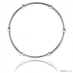 Sterling Silver Stretch Bangle, 6 Section polished