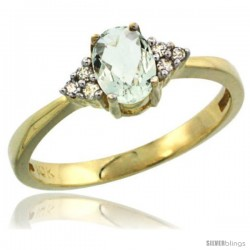 14k Yellow Gold Ladies Natural Green Amethyst Ring oval 6x4 Stone Diamond Accent