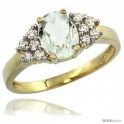 14k Yellow Gold Ladies Natural Green Amethyst Ring oval 8x6 Stone Diamond Accent
