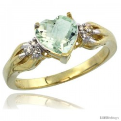 14k Yellow Gold Ladies Natural Green Amethyst ring Heart shape 7x7 Stone Diamond Accent