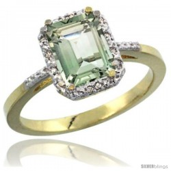 14k Yellow Gold Ladies Natural Green Amethyst Ring Emerald-shape 8x6 Stone Diamond Accent