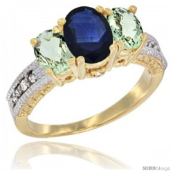 14k Yellow Gold Ladies Oval Natural Blue Sapphire 3-Stone Ring with Green Amethyst Sides Diamond Accent
