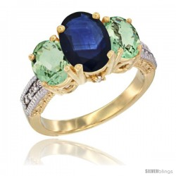 14K Yellow Gold Ladies 3-Stone Oval Natural Blue Sapphire Ring with Green Amethyst Sides Diamond Accent