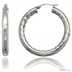 Surgical Steel 1 1/2 in Hoop Earrings Bamboo Embossed Pattern 5 mm Fat tube, feather weigh