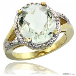 14k Yellow Gold Ladies Natural Green Amethyst Ring oval 12x10 Stone Diamond Accent