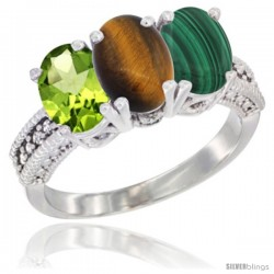 14K White Gold Natural Peridot, Tiger Eye & Malachite Ring 3-Stone Oval 7x5 mm Diamond Accent