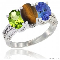 14K White Gold Natural Peridot, Tiger Eye & Tanzanite Ring 3-Stone Oval 7x5 mm Diamond Accent