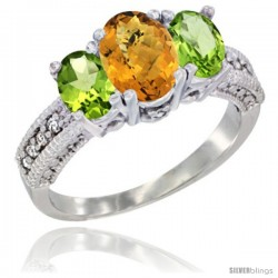 14k White Gold Ladies Oval Natural Whisky Quartz 3-Stone Ring with Peridot Sides Diamond Accent
