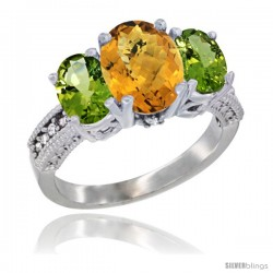 14K White Gold Ladies 3-Stone Oval Natural Whisky Quartz Ring with Peridot Sides Diamond Accent
