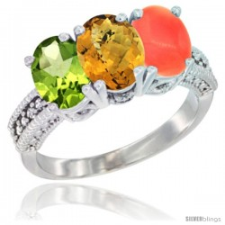 14K White Gold Natural Peridot, Whisky Quartz & Coral Ring 3-Stone Oval 7x5 mm Diamond Accent