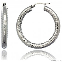 Surgical Steel 1 1/2 in Hoop Earrings Tight Zigzag Embossed Pattern 5 mm Fat tube, feather weigh