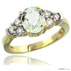 14k Yellow Gold Ladies Natural Green Amethyst Ring oval 9x7 Stone Diamond Accent