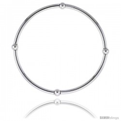 Sterling Silver Stretch Bangle, 4 Section Polished