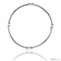 Sterling Silver Stretch Bangle, 4 Section Double Beads