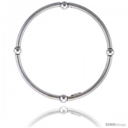 Kids Size Sterling Silver Stretch Bangle 4 Section Textured.