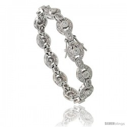 Sterling Silver Vintage Style CZ Bracelet, 7 in., 3/8 in (10 mm) wide