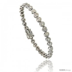 Sterling Silver 1.5 Carat size Bezel Set CZ Tennis Bracelet w/ Heart Links, 7 in., 3/16 in (5 mm) wide