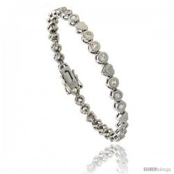 Sterling Silver 1.5 Carat size Bezel Set CZ Tennis Bracelet w/ Heart Links, 7 in., 3/16 in (5 mm) wide