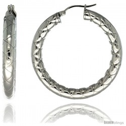Surgical Steel 1 1/2 in Hoop Earrings Zigzag Embossed Pattern 5 mm Fat tube, feather weigh