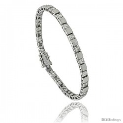 Sterling Silver 4 ct. size Princess CZ Tennis Bracelet/ alternating silver and stone, 7 in., 5/32 in (4 mm) wide