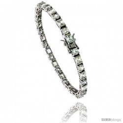 Sterling Silver Tennis Bracelet Cubic Zirconia Stones Rectangular & Round Shape Alternating, Rhodium Finish, with Hidden safety