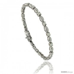Sterling Silver 1.5 ct. size Marquise Link Cubic Zirconia Bracelet, with alternating Silver & Stone, 7 in., 1/8 in (3 mm) wide