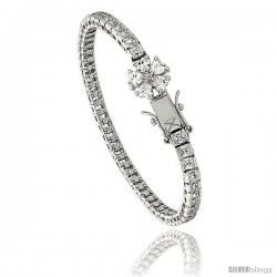 Sterling Silver 8.75 ct. size Princess CZ Tennis Bracelet, 7 in., 5/32 in (4 mm) wide