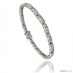 Sterling Silver 8.75 ct. size 3-Stone Channel Set CZ Bracelet, 7 in., 5/32 in (4 mm) wide
