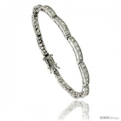 Sterling Silver 9 Carat 5-Stone Channel Set CZ Tennis Bracelet, 7 in., 5/32 in (4 mm) wide
