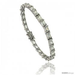 Sterling Silver 13.5 ct. size Emerald Cut CZ Tennis Bracelet, 7 in., 3/16 in (5 mm) wide
