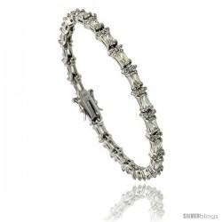 Sterling Silver 6.25 ct. size Emerald Cut CZ Tennis Bracelet w/ alternating Round Stones, 7 in., 7/32 in (5.5 mm) wide