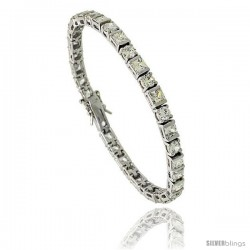 Sterling Silver 11 ct. size alternating Round & Square Cut CZ Tennis Bracelet, 7 in., 3/16 in (4.5 mm) wide