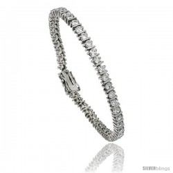 Sterling Silver 4.75 ct. size CZ Tennis Bracelet w/ Bars, 7 in., 3/16 in (4.5 mm) wide