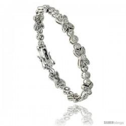Sterling Silver Vintage Style CZ Butterfly Bracelet, 7 in., 1/4 in (7 mm) wide