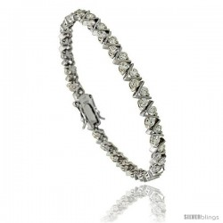 Sterling Silver 5.25 ct. size V-Link Cubic Zirconia Tennis Bracelet, 7 in., 3/16 in (5 mm) wide