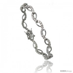 Sterling Silver 1.25 ct. size Wave CZ Tennis Bracelet, 7 in., 1/4 in (7 mm) wide