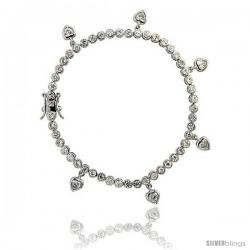 Sterling Silver 4.25 ct. size CZ Tennis Bracelet w/ Dangling Hearts, 7 in., 1/8 in (3.5 mm) wide