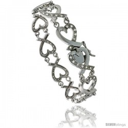 Sterling Silver Tennis Bracelet Cubic Zirconia Stones in Heart Shape, Rhodium Finish, with Hidden safety clasp, 7 in
