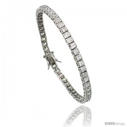 Sterling Silver 9 ct. size Princess Cut CZ Tennis Bracelet, 6.75 in., 1/8 in (3 mm) wide