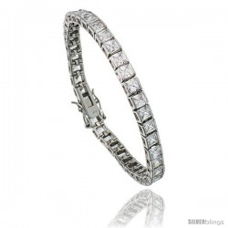 Sterling Silver 15.3 ct. size Princess Cut CZ Tennis Bracelet, 7 in., 5/32 in (4 mm) wide