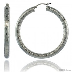 Surgical Steel 2-inch Hoop Earrings Bamboo Embossed Pattern 5 mm Fat tube, feather weigh