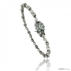 Sterling Silver Tennis Bracelet Cubic Zirconia Stones Alternating Round & Marquise Cut, Rhodium Finish, with Hidden safety