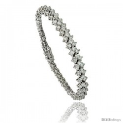 Sterling Silver 6.75 ct. size 3 Row Chevron CZ Tennis Bracelet, 6.5 in., 1/4 in (6 mm) wide