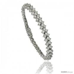 Sterling Silver 6.75 ct. size 3 Row Chevron CZ Tennis Bracelet, 6.5 in., 1/4 in (6 mm) wide