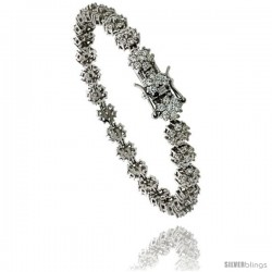 Sterling Silver Tennis Bracelet Cubic Zirconia Stones Flower Design, Rhodium Finish, with Hidden safety clasp, 7 in