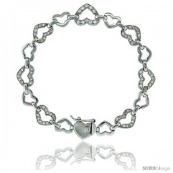 Sterling Silver Tennis Bracelet Cubic Zirconia Stones Heart Shape, Rhodium Finish, with Hidden safety clasp, 7 in