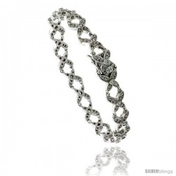 Sterling Silver Tennis Bracelet Cubic Zirconia Stones in Butterfly Design, Rhodium Finish, with hidden safety clasp, 7 in